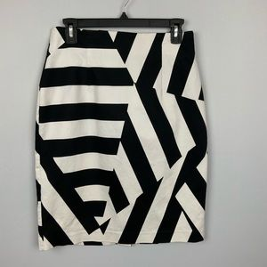 Black White Stripe Geometric Print Pencil Skirt 10